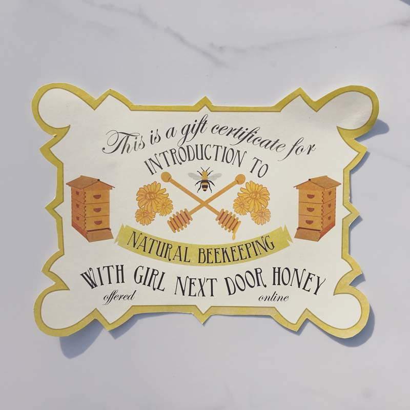 Online Intro To Beekeeping Class Gift Certificate Girl Next Door Honey